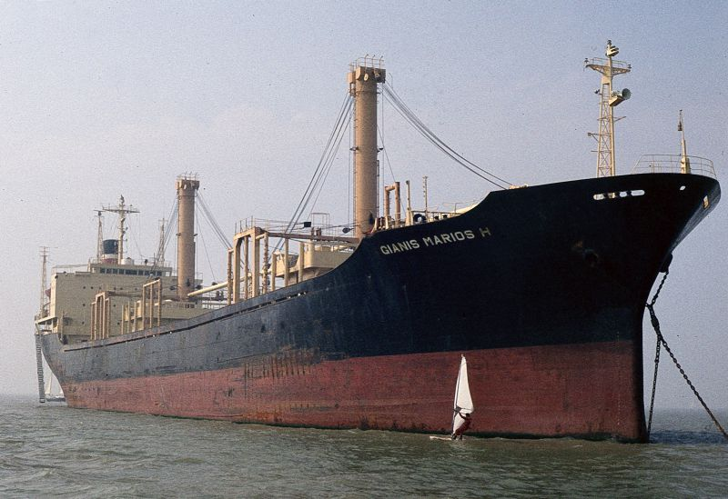 GIANIS MARIOS H laid up in the River Blackwater. Date: 5 September 1982.
