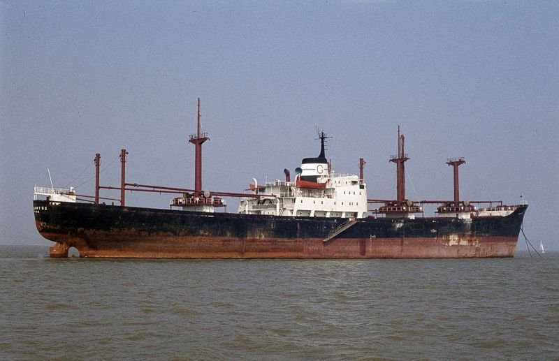 PROTOKLITOS laid up in the River Blackwater. Date: 5 September 1982.