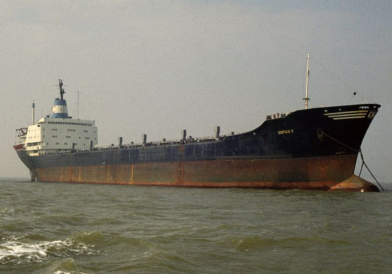 SOPHIA C laid up in the River Blackwater. Date: 5 September 1982.