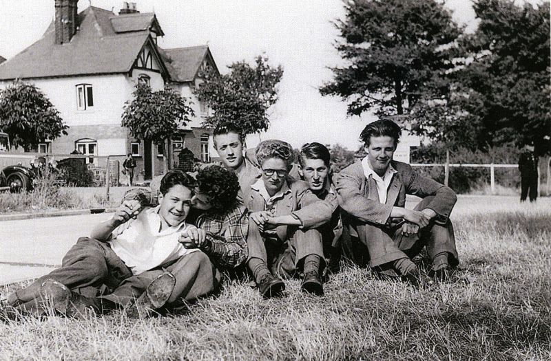 Mersea boys 1950s, Beach Club in the background. L to R 1. Gilbert Lee, Gerald Mason (or Roger Sheldrake), Geof Atkins, Colin 'Chicks' Milgate, Ken 'Chunky' Mole, Dick (or John) Gladwell. 