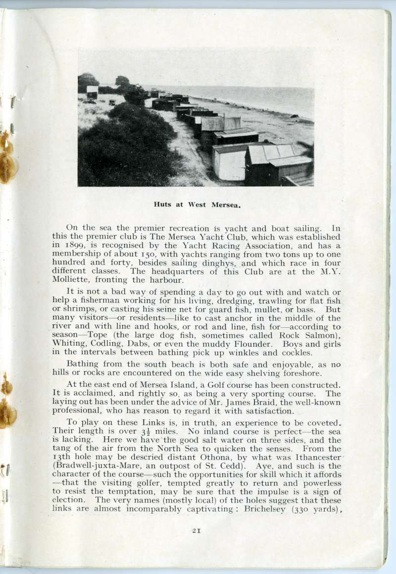 West Mersea Official Guide. Page 21. Huts at West Mersea. 