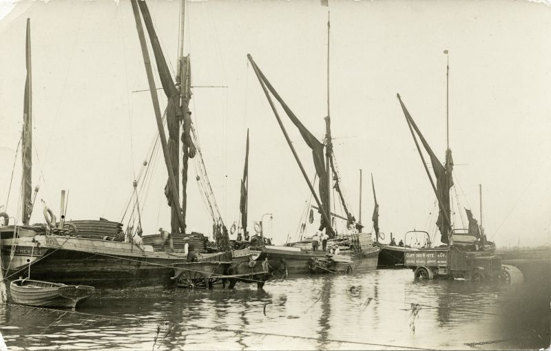 Barges unloading on West Mersea Hard 1926