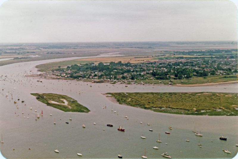 The Hard looking northeast towards the Strood. Packing Marsh Island and Cobmarsh Island on the right. 
