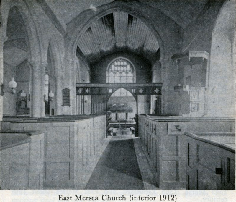 East Mersea Church Interior 1912. The box pews were replaced with chairs in 1913. Photo from A Short History of the Parish Churches of East Mersea and West Mersea, by J.B. Bennett. 1977 impression. Photographer not known. 