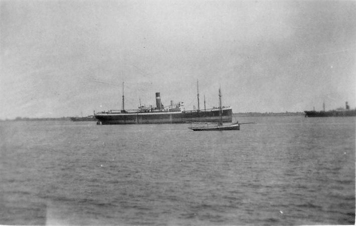 Ships laid up in the River Blackwater off Tollesbury. The vessel in the centre looks like Ellermans VOLTURNO which was laid up in the Blackwater 28 March 1931 to 17 July 1931 Date: cMay 1931.