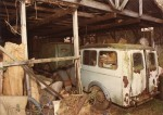 Bradford vans in Digby's shed. Thought to be at the time of the sale following Hugh Banham's death  MF04_002_001