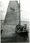 10. ID BOXB3_178_001_001 The West Mersea smack HYACINTH CK256 before the start of the 1948 West Mersea Town Regatta smack race. She was the last Mersea smack to remain without an engine ...