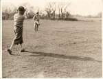 East Mersea Golf Club. Dr. G.A. Campbell - Honorary Secretary London Medical Irish Golf Club, driving towards the 2nd green.  BS01_009