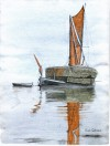 Stackie barge becalmed. Watercolour by Ron Green.  RG21_079