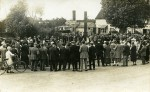 5. ID CLN_LDH_001 The War Memorial at Layer Cross, Layer de la Haye. It is a large gathering with a band in the background, and is thought to be for the dedication of the War ...