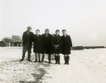 98. ID PMS_WIN_001 Five boys on the beach at Mersea early 1940. The sea on the right is frozen. Who are the boys ? Photograph taken by Howard Winch - Pauline's father.