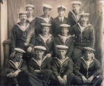 104. ID MPUB_NJN_AJM_001 Some of the crew of HMS INDUSTRY. The vessel was sunk in the Irish Sea 18 October 1918. 20 men were lost, including 6 men from Mersea Island.