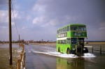 104. ID RFR_001 Eastern National Bristol double decker bus ONO80 crossing the Strood onto Mersea Island at high tide.