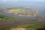 View east from Old Hall Marshes to Mersea Island.