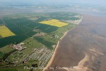 Mersea Island looking northeast. Waldegraves caravan park is lower left.