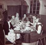 30. ID FL04_022_002 School Hall. From left Molly Collins, Mrs Ida South, Miss Keene, Mrs Ruffell, Judy Farthing, Sheila Slowgrove, Gloria Simmonds.