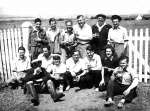 8. ID MIL_OPA_027 Dabchicks at Bradwell. West Mersea Dabchicks at the Green Man 1948 L-R Top Row Sid Sherwood, Billy Johnson, Joe Hewes, Leo M-S, Reg Hempstead, Peter Mason L-R ...
