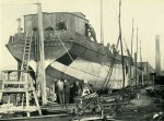 30. ID BF69_001_029_001 Barge RUNIC being converted at Aldous Successors, Brightlingsea. Official No. 118460, built Krimpen 1904, owned by E.J. & W. Goldsmith.