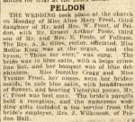 15. ID ECR_1933_NOV09_001 Peldon. The wedding took place at the church on Monday of Miss Alice Mary Frost, third daughter of Mr & Mrs W. Frost of Peldon, with Mr Ernest Arthur Poole, ...