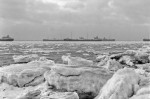 Laid up shipping and an icy River Blackwater, taken from Bradwell in the icy winter of 1962-1963. cJanuary 1963. Photo: Robin Webster