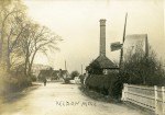 Peldon Steam Mill and Windmill, looking towards the Rose Inn. Posted to Miss Smith at the Fountain, West Mersea - it has no date on it.
